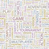 GAME. Seamless vector pattern with word cloud. Illustration with different association terms.