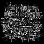 ANALYSIS. Word collage on black background. Illustration with different association terms.