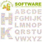 SOFTWARE. Vector letter collection. Illustration with different association terms.