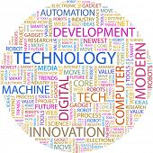 TECHNOLOGY. Word collage on white background. Vector illustration.