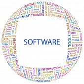 SOFTWARE. Word collage on white background. Illustration with different association terms.
