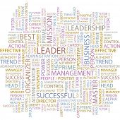 LEADER. Word collage on white background. Illustration with different association terms.