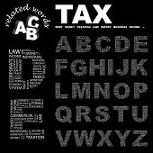 TAX. Vector letter collection. Illustration with different association terms.