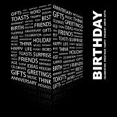 BIRTHDAY. Word collage on black background. Illustration with different association terms.
