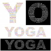 YOGA. Word collage. Illustration with different association terms.