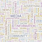 MEDIA. Seamless vector pattern with word cloud. Illustration with different association terms.