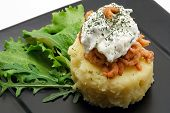 Mashed Potatoes With Shrimps And Creamy Cheese Close-Up