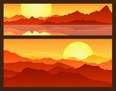 image of mountain-range  - Sunrise in the mountains - JPG