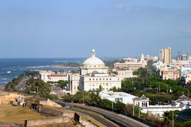 foto of san juan puerto rico  - view of the down town area of San Juan Puerto Rico with the ocean in the background - JPG