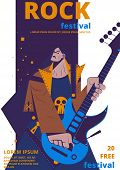 Rock Music Festival Poster Vector Illustration. Rocker Concert Placard Or Entry Ticket Flat Cartoon  poster