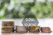 Global Sourcing  Against On The Touch Screen With A  Blur Financial Background .the Concept Global S poster