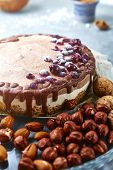 Top View With Copyspace Of Chocolate Raw Vegan Cake With Different Nuts, Dates, Carob Zlage And Curr poster