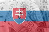 Flag Of Slovakia With Transparent Euro Banknotes In Background