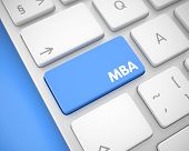 Up Close View On The Modern Laptop Keyboard - Mba - Master Of Business Administration Blue Button. M poster