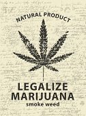 Vector Banner For Legalize Marijuana With Cannabis Leaf On Abstract Background Of Old Papyrus Or Man poster