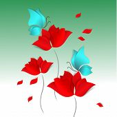 Hello Spring Paper-cut Style Card On Green Background. Red Flower, Blue Butterfly. 3d Vector, Day, H poster