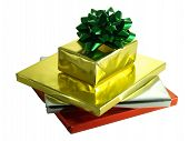 Christmas Presents In Shiny Foil Wrappers