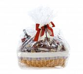 picture of gift basket  - Isolated Food hamper with many sweets as a present - JPG