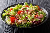 Mediterranean Salad With Tuna Fish, Borlotti Beans, Cherry Tomatoes, Lettuce Close-up. Horizontal poster