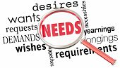 Needs Wants Desires Requirements Magnifying Glass 3d Illustration poster
