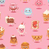 Cartoon Cake Character Vector Chocolate Sweets Confectionery Cupcake Emotion And Sweet Confection De poster