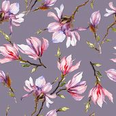 Pink Magnolia Flowers On A Twig On Grey Background. Seamless Pattern. Watercolor Painting. Hand Draw poster