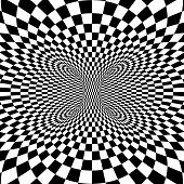 picture of psychodelic  - Black and white squares projection on torus - JPG