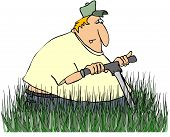 Man Mowing Tall Grass