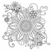 Floral Mandala Pattern In Black And White. Adult Coloring Book Page With Flowers And Mandalas. Orien poster