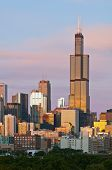 stock photo of willy  - Image of Willis Tower and skyline of Chicago at sunset - JPG