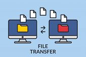 File Transfer. Two Computers With Folders On The Screen And Documents Sent. Copy Files, Exchange Dat poster