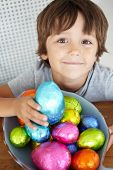 pic of easter-eggs  - Child with Easter eggs - JPG