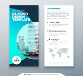 Dl Flyer Design. Teal Business Template For Dl Flyer. Layout With Modern Circle Photo And Abstract B poster