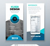 Dl Flyer Design. Blue Business Template For Dl Flyer. Layout With Modern Circle Photo And Abstract B poster