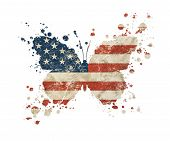 Butterfly Shaped Old Grunge Vintage Dirty Faded Shabby Distressed American Us National Flag With Pai poster