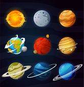Solar System Planets Isolated Vector. Fantastic Cosmic Illustration. poster