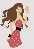 chica de moda con la tarjeta de compras