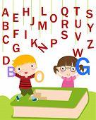 Children with alphabet.