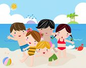 Children on the sunny beach