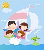 familia en la nave. vector ilustración de dibujos animados