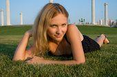 Pretty Woman On Grass