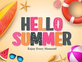 Hello Summer Vector Background Design With Colorful 3d Pattern Text And Beach Elements In Yellow Tex poster