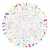 Multi Colored Math Symbols Carnival Round Cluster. Vector Spheric Cluster Burst Created With Scatter poster