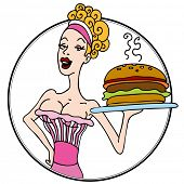 An image of an old fashioned diner waitress serving a hamburger.