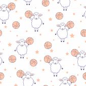 Animal Fitness. Funny Lambs With Basketball Ball And Stars. Seamless Pattern With Cute Sheep. poster