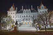 New York State Capitol Building At Night
