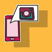 Sticker Unusual Look Web Icon Of Modern Lineart Camera. Digital Application Instagram poster