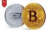 Bitcoin. Dash. 3d Isometric Physical Coins. Digital Currency. Cryptocurrency. Silver Coin With Dash  poster
