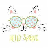 Hand Drawn Portrait Of A Cute Cartoon Funny Cat In Sunglasses With Cherry Blossoms Reflection, Text  poster
