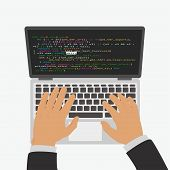 The Programmer Develops A Program Code In The Editor Integrated Development Environment. Isolated On poster